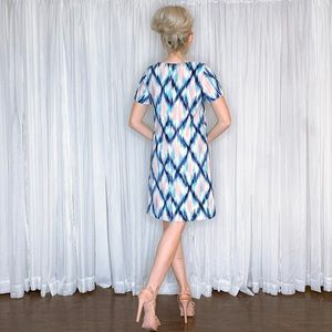 AGB Dresses - Pink And Blue Pattern Contemporary Work Dress